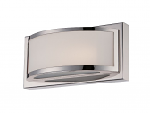 "Mercer LED Polished Nickel Glass Sconce Light 10""Wx4""H"