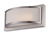 "Mercer LED Brushed Nickel Glass Sconce Light 10""Wx4""H"