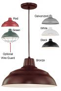 "Warehouse Pendant Light w/Cord 6 Colors Indoor-Outdoor 14-17""W"