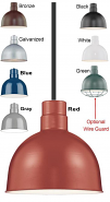 "Industrial Pendant Light 8 Colors 10-12""W"