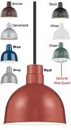 "Industrial Pendant Light 8 Colors 10-12""W"