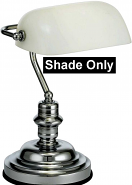 White Bankers Lamp Glass Shade