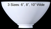 "White Glass Reflector Bowl Torchiere Shade 6-10""W"