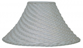 "Whitewash Bell Coolie Wicker Rattan Lamp Shade 20""W"