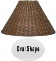"Oval Oblong Dark Tea Rattan Lamp Shade 18""W"