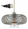 "Wilshire Brushed Steel & Glass Plug In Pendant Light 13""W"