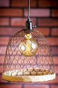 "Chicken Wire & Hemp Swag Lamp Rust 10""Wx12""H"