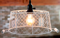 "Ivory Chicken Wire Basket Swag Lamp Pendant 12""W"