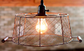 "Rust Chicken Wire Basket Swag Lamp Pendant 12""W"