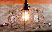 "Chicken Wire Basket Swag Lamp Rust 12""W - Sale !"