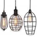 "Wire Cage Edison Bulb Plug In Pendant Light 5-7""W - Sale !"