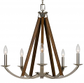 "Wood & Brushed Steel Chandelier 24""Wx26""H - Sale !"