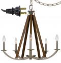 """Wood & Brushed Steel Plug In Chandelier Swag Lamp 24""""Wx26""""H"""