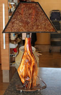 "Cedar Wood Lamp With Mica Shade 25""H"