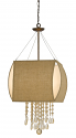 "Burlap Ship Sails Chandelier With Crystals 4 Lights 17""W"