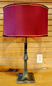 "Antique Golden Bronze Cast Iron Table Lamp Burgundy Silk Drum Shade USA Made 27""H"