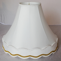 "Gold Braid Trim Victorian Scallop Gallery Bell Silk Lamp Shade, Cream, White, Soft Luxury Lining 5""x14""x13""; 6""x16""x14""; 7""x18""x15""; 8""x20""x16"""