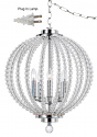 "Crystal Lucite Chrome Swag Lamp 15""W x 19""H"