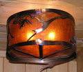 "Pine Limb Pine Cone Mica Metal Chandelier 16""W"