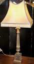 "Antique Crystal Lamp Silk Shade 29"" SOLD"