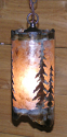"Pine Trees Mica Pendant Light Swag Lamp 5""Wx10""H"