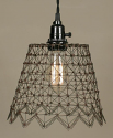 "French Chicken Wire Swag Lamp Pendant Light 10""Wx8""H"