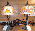 "Small Antique Lamps Hand Painted Glass Shades 11""H Sold"