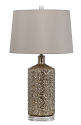"Earth Tone Crystal Lamp w/Linen Drum Shade 30""H"