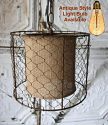 "Chicken Wire Burlap Swag Lamp Pendant Light 10""Wx8""H"