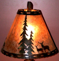 Deer & Pine Trees Silver Mica Lamp Shade