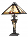 "Victorian Vines with Lighted Base Square Tiffany Lamp 25""H"