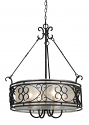 "Bronze Forged Iron Sheer Organza Drum Pendant Light 24""W"