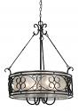 "Bronze Forged Iron Sheer Organza Drum Pendant Light Chandelier 24""W"