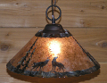 "Wolves Mica Pendant Light Swag Lamp 14-18""W"