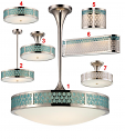 Raindrop Lighting Group Aqua Marine Nickel Glass