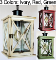 "Wood & Glass Lantern Ivory, Red, Green 5.5-7.5""W"