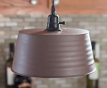"Rusted Bronze Tub Swag Lamp Pendant 11""W"