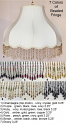 "Umbrella Bell Victorian Lamp Shade Beaded Fringe in 7 Colors, Cream or White 16-20""W"
