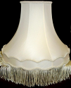 "Scallop Gallery Bell Silk Vintage Victorian Lamp Shade Soft Luxury Lining Cream, White 5""x14""x13""; 6""x16""x14""; 7""x18""x15""; 8""x20""x16"" +4"" Fringe"