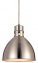"Nickel Brushed Steel Dome Pendant Light 10""W"