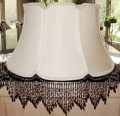 "Victorian Floor Lamp Shade Beaded Fringe 7 Colors, Cream or White 17-19""W"