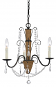 """Roped Iron Chandelier With Crystals 3 Lights 17""""Wx19""""H"""