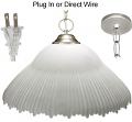 "Alabaster Glass Nickel Pendant Light Swag Lamp 14""-16""W"