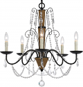"""Roped Iron Chandelier With Crystals 5 Lights 27""""Wx23""""H"""
