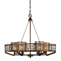 "Iron Wood Crystal Chandelier 6 Mica Shade Lights 28""Wx25""H"
