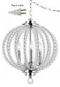 "Crystal Lucite Chrome Swag Lamp 13""W x 16""H"