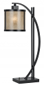 """Bronze Iron Curved Arm Reading Task Mica Desk Lamp 25""""H"""