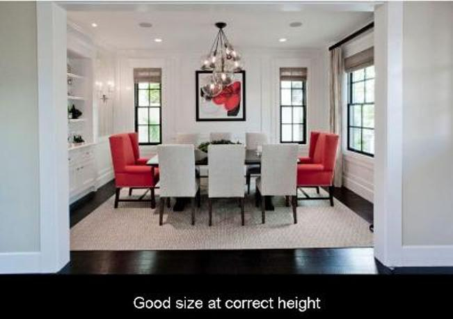 Chandelier is the correct size and hung at correct height over table